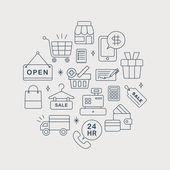 Einkaufsmöglichkeiten Linie Kreis Symbolsatz — Stockvektor