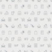 Shopping line icon pattern set — Stock Vector