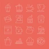 Coffee line icon set — Vecteur