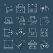 Insieme dell'icona di acquisto linea — Vettoriale Stock