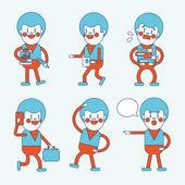 Character illustration design. Businessman set cartoon — Wektor stockowy