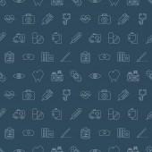 Sjukhuset linje Ikonuppsättning mönster — Stockvektor
