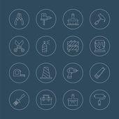 Tool line icon set — Stock Vector