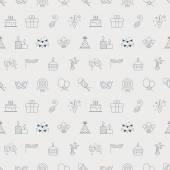 Birthday line icon pattern set — Stock Vector