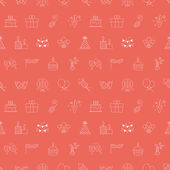 Birthday line icon pattern set — Stockvektor