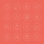Valentine's day line icon set — Stock Vector