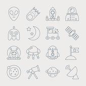 Space line icon set — Vector de stock