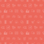 Music media line icon pattern set — Stock Vector