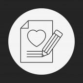 Love letter line icon — Stock Vector