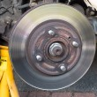 Worn Car Brake Disk  brake caliper removed — Zdjęcie stockowe #78750502