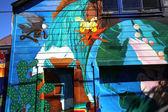 Mexican murals painted in Balmy Alley, San Francisco, California — Stock Photo