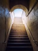 Dark stairs lit up sunlight — Foto de Stock