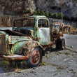 Rusty green vintage truck by a quarry. — Stock Photo #66172185