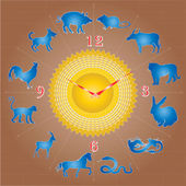 Chinese Zodiac sign on the Clock — Stock Vector