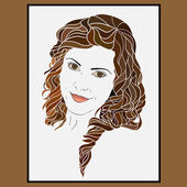 The face of the smiling girl with the curly hair. — Stock Vector
