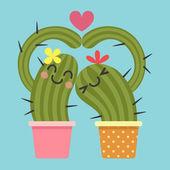 Loving couple of cactus — Vettoriale Stock