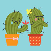 Reconcile and loving couple of cactus — Stock Vector
