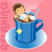 Girl in blue mug of hot tea — Stock Vector