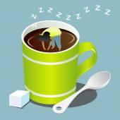 Girl sleeping in green mug of coffee — Stock Vector