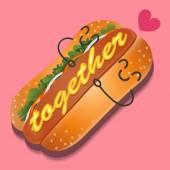The loving hotdog — Stock Vector