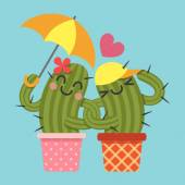Loving couple of cactus — Stock Vector