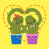 Loving couple of cactus arm in arm — Wektor stockowy