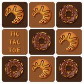 Tic Tac Toe, Croissant und Donut — Stockvektor