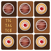 Tic-Tac-Toe of chocolate ball and cup cake — Stock Vector