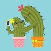 Kissing couple of cactus taking selfie — Stock Vector
