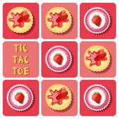 Tic-Tac-Toe of  strawberry cup cake and cracker — Cтоковый вектор
