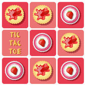 Tic-Tac-Toe of  strawberry cup cake and cracker — Stockvektor