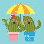 The loving couple of cactus with umbrella — Stock Vector