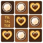 Tic-Tac-Toe of cookie and cup cake — Stock Vector