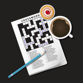Illustration of crossword game, mug of coffee and cup cake — Stock Vector