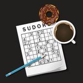 Ilustración del juego de Sudoku, taza de café y chocolate donut — Vector de stock