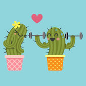 Loving couple of cactus with dumbbell — Stock Vector