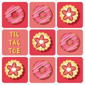 Tic-Tac-Toe of strawberry tart and donut — Stock Vector