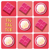 Tic-Tac-Toe of  strawberry cup cake and strawberry chocolate bar — Vecteur