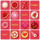 Illustration of dessert and baked goods — Stok Vektör