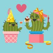 Loving couple of cactus at birthday party — ストックベクタ