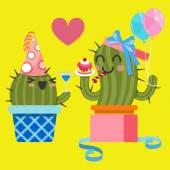 Loving couple of cactus at birthday party — Stockvektor
