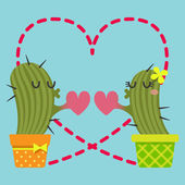 The loving couple of cactus — Stock Vector