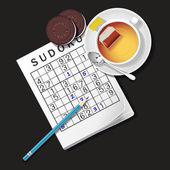 Illustration of Sudoku game, mug of tea and cookies — Διανυσματικό Αρχείο