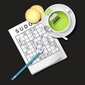 Ilustracja z gry Sudoku, kubek zielonej herbaty i dziadek do orzechów — Wektor stockowy