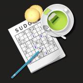 Illustration of Sudoku game, mug of green tea and cracker — Stock Vector