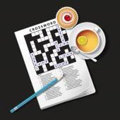 Ilustração do jogo de palavras cruzadas, caneca de chá e bolo de Copa — Vetor de Stock
