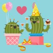 Loving couple of cactus at birthday party — Stock vektor