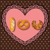 Bake goods in I love you shape — 图库矢量图片