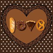 Bake goods in word of love shape — Stock Vector