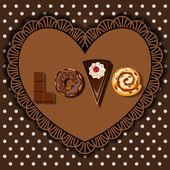 Bake goods and dessert in word of love shape — Stock Vector